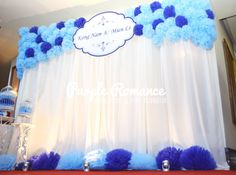 Pom pom flowers photo booth backdrop in blue at Dorsett Grand Subang, Malaysia  #dorsettgrandsubang #pompomflower #photoboothbackdrop #photoboothmalaysia #malaysiabackdrop #weddingbackdrop #backdropmalaysia #weddingplanner #weddingstylist #eventstylist #weddingdecorator #malaysiawedding #weddingmalaysia