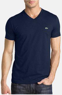 Men's Lacoste V-Neck T-Shirt - Soft 100% Cotton Fabric - Next Luxury