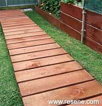42 Amazing DIY Garden Path and Walkways Ideas gather of interesting and creative garden path design ideas provides great inspirations for improving garden and yard landscaping Wood Path, Wood Walkway, Outdoor Walkway, Outdoor Decor, Glass Walkway, Wooden Pathway, Front Walkway, Stone Path, Path Design