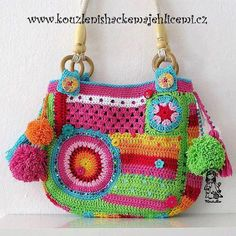 Crazy rainbow bag - photos of this cute crochet bag and the story about Crochet Diy, Bag Crochet, Crochet Shell Stitch, Freeform Crochet, Crochet Handbags, Crochet Purses, Love Crochet, Crochet Clothes, Irish Crochet