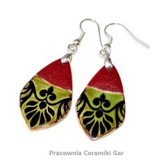 ceramic earrings, red and green ceramic jewerly, Ceramic Jewelry, Jewerly, Ceramics, Drop Earrings, Red, Handmade, Etsy, Ceramica, Jewlery