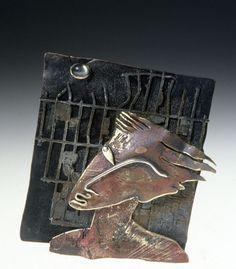 "Enid Kaplan, Brooch, 1987, 14k, sterling, copper, moonstone, rubber, 3"" x 3.5"" x .5"""
