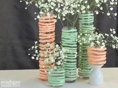 mint green wedding centerpiece ideas | Simple mint and peach spring floral centerpieces