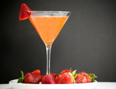 Strawberry Sunrise Martini - strawberry infused vodka, Cointreau, and pineapple juice.  DELISH.
