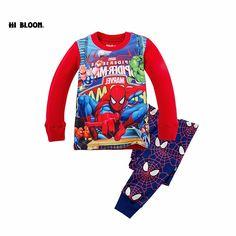 747410175e 100% Algodón de Invierno Spiderman Niños Ropa Conjunto de Dibujos Animados  Traje de Deportes del · Red PajamasGirls ...