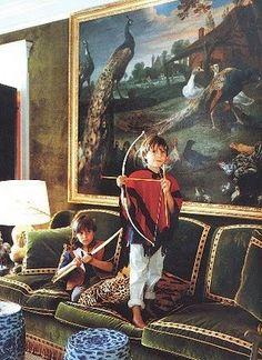 Tory Burch's Green Living Room