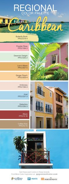Tropical Paradise Design & Decor Inspiration | From Aruba to Saint Martin, the Caribbean Islands evoke a sense of tranquility and beauty. The crystal clear blues and foamy greens in this color palette can help recreate a tropical paradise in any room. Often used in bathrooms, blue makes spaces appear larger. These tropical paint colors are a part of the PPG Voice of Color Caribbean Regional Color Collection.