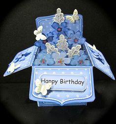 Card Gallery - 3D Pretty Violas Rubber Band Pop Up Box Card