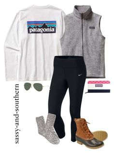 """#sassyandsouthernfall "" by sassy-and-southern ❤ liked on Polyvore featuring Patagonia, NIKE, Forever 21, L.L.Bean, Ray-Ban and Vineyard Vines"