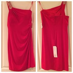"New ""Cache"" Red off the Shoulder Dress sz 14 """"""""New Cache dress with tags"". This is the perfect dress for the Holidays. Beading on the right shoulder strap .Fully lined with back zipper, built in bra, side ruching ,3/4"" length.     size 14.             Don't miss out Cache Dresses One Shoulder"