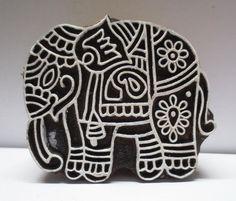 WOODEN HAND CARVED CLAY HEENA TATTOO FABRIC BLOCK PRINT STAMP FINE CUTE ELEPHANT #UnbrandedGeneric