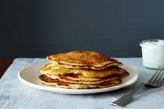 Savory Masa Corn Cakes with Green Chile, Cheese, and Lime Crema, a recipe on Food52