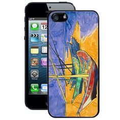 Hot Buckles Fishing Boats on the Beach Vincent Van Gogh iPhone 5 Case (Black) on I'dBuyIt.At