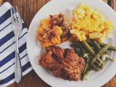 Martin Luther King's favorite meal: fried chicken, green beans, mac and cheese,  mashed sweet potatoes and pecan pie.