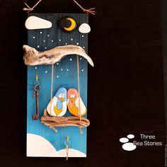 Купить Панно-ключница #10 - комбинированный, коряга, мореное дерево, галька, морская, камень, градусник