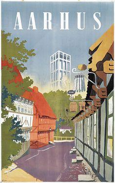 Aarhus Borges Aarhus, Aalborg, Poster Retro, Bullet Journal Travel, Plakat Design, Copenhagen Denmark, Denmark Europe, Tourism Poster, Design Poster