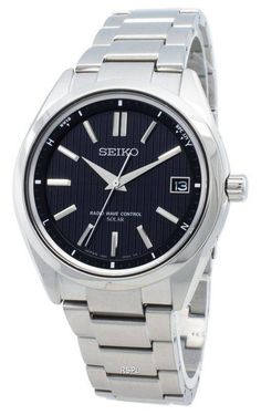 Features:  Stainless Steel Case Stainless Steel Bracelet Solar Movement Caliber: 7B24 Sapphire Crystal Black Dial Analog Display Full-Auto Calendar Overcharge Prevention Function Time Difference Adjustment Function Against Allergy To Metal Date Display Screw Down Crown Solid Case Back Deployment Clasp 100M Water Resistance  Approximate Case Diameter: 39mm Approximate Case Thickness: 8.8mm Stainless Steel Bracelet, Stainless Steel Case, Radio Wave, Seiko Watches, Watch Sale, Omega Watch, Watches For Men, Solar, Waves