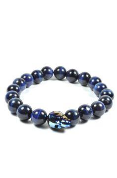 Blue Tiger Eye and Blue Swarovski Skull – Tag Twenty Two Man Bracelet, Skull Bracelet, Bracelet Watch, Bracelets For Men, Jewelry Bracelets, Looks Instagram, Guy Clothes, Blue Tigers Eye, Gq Men