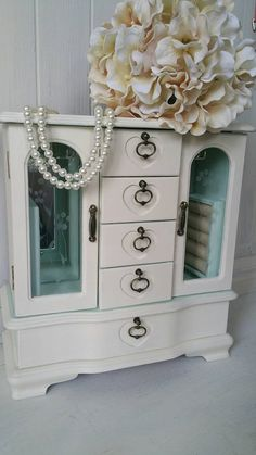 Large Ivory and Light Mint Shabby Chic Jewelry Box