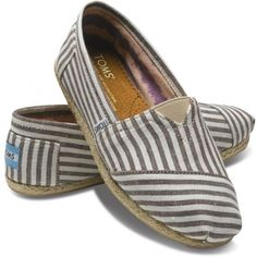TOMS Brown Stripe Rope Sole Women's Classic Canvas Slip On Shoes 10 ❤ liked on Polyvore
