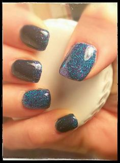 New Years Nails,  Navy shellac with Teal and purple Shimmer