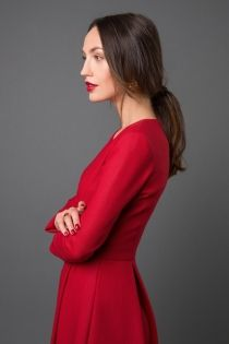 The Audley dress in red