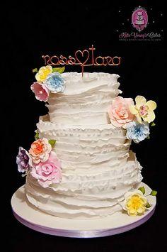 3 Tier Fondant Frill Wedding Cake With Pastel Sugar Flowers