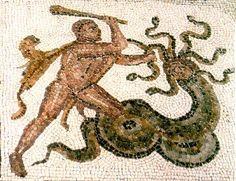 Hercules and the Hydra (Roman mosaic, 2d century AD)