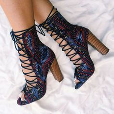 Lace Up Tribal Chunky Heels