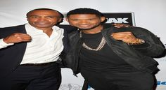 """Sugar Ray Leonard & Usher on the Red Carpet """"Big Fighters, Big Cause"""" Charity Fight Night - http://getmybuzzup.com/wp-content/uploads/2013/05/Sugar-Ray-Leonard-and-Usher-clinching-fists-600x330.jpg- http://getmybuzzup.com/talent-house/-  Sugar Ray Leonard  Usher on the Red Carpet Big Fighters, Big Cause Charity Fight Night Sugar Ray Leonard and Usher had some fun """"exchanging punches"""" on the red carpet at the B. Riley  Co. andThe Sugar Ray Leona"""