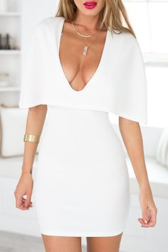 Plunging Neck Cape Design White Bodycon Dress in white