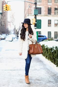 Shearling + Denim - Zadig & Voltaire coat // Theory sweater // J Brand jeans Seychelles boots c/o // J.Crew hat // YSL bag Monday, January 27, 2014