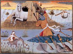 Neptune, avec son trident, entouré des tritons Évrard de Conty, Le Livre des échecs amoureux moralisés. Enluminures de Robinet Testard, vers 1496-1498.