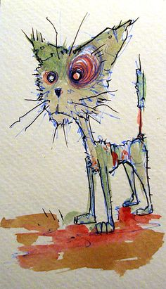 zombies zombies and kittens ... those things tumble around my head all day, sometimes getting out on to the page. This is a zombie kitty watercolor doodle on a 3x6 chunk of watercolor paper. It's been surviving the zombie apocalypse by chewing on rats, dogs and the occasional zombie. Sometimes it...