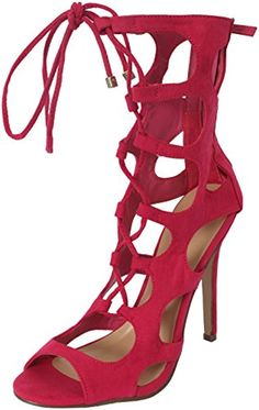 7c22c7887dd Breckelles Womens Strappy Heels Sandals Fuchsia Heel   Platform Platform  measures approximately Synthetic suede. Lace up vamp with a mid calf height.