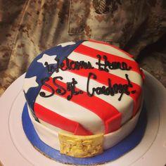 Patriotic USMC homecoming fondant cake, military, American flag