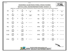 Free Fraction Worksheets Adding Subtracting Fractions | maths ...