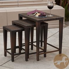 Christopher Knight Home Outdoor Brown Wicker Nested Tables (Set of 3)   Overstock.com Shopping - Big Discounts on Christopher Knight Home Coffee & Side Tables