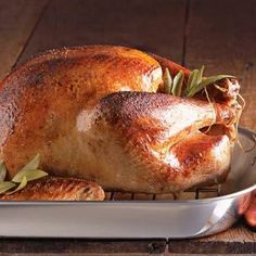 Buttermilk-Brined Turkey (Williams Sonoma)- Ingredients:  1 1/2 cups turkey brine  1 quart water  4 quarts buttermilk  1 fresh turkey, 16 to 18 lb., neck, heart and gizzard removed (reserved,   if desired)  4 Tbs. (1/2 stick) unsalted butter, at room temperature. Serves 12 to 14.