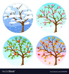 Four seasons. Illustration of tree and landscape in winter, spring, summer, autumn Four Seasons Painting, Four Seasons Art, Drawing For Kids, Painting For Kids, Art For Kids, Preschool Decor, Writing Pictures, Oil Painting Pictures, Free To Use Images