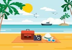 Holiday beach PNG and Vector Summer Pictures, Beach Pictures, Summer Art, Summer Beach, Beach Illustration, Flower Lights, Komodo, Beach Scenes, Small Quilts