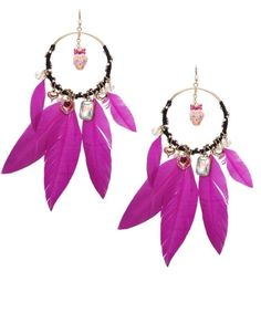feathers, leaves, crystals, on hoopes, gold, silver, colors, enamel, charm or crystal in hoop