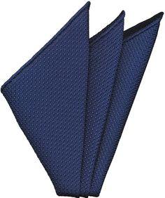Dark Blue Grenadine Silk Pocket Square #13