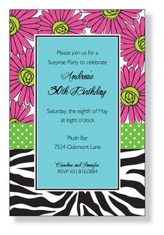Zebra Daisies Invitation SAMPLE