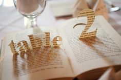 Book cutout table numbers. Photo by Kristie Macor from Tied Photography.
