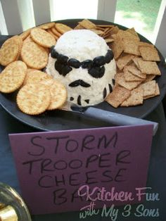 Kitchen Fun With My 3 Sons: Our Collection of Star Wars Party Food - storm trooper cheese ball Star Wars Party Food, Star Wars Food, Theme Star Wars, Star Wars Day, Anniversaire Star Wars, Star Wars Birthday, Geek Birthday, 10th Birthday, Birthday Wishes