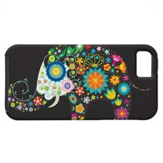 Cute Retro Flower Elephant Vector iPhone 5 Case