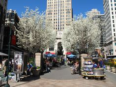 Blooming Pyrus Trees in Herald Square 34 Street, Street View, Macy's Herald Square, Empire State Building, Tower, Nyc, New York, Dreams, Park