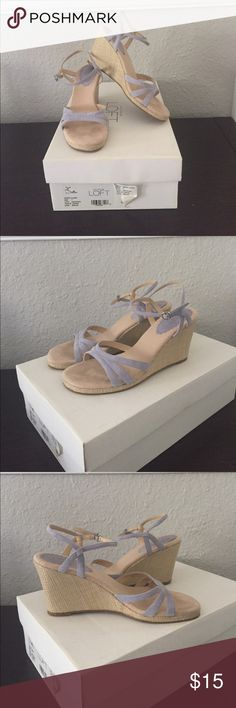 LOFT Wedges Super cute suede wedges in periwinkle color. Hardly worn, only a couple of times. Smoke free home! LOFT Shoes Wedges