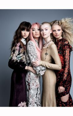 """"""" Grace Hartzel in Miu Miu, Fernanda Ly in Valentino, Ruth Bell in Chanel and Frederikke Sofie in Givenchy photographed by Patrick Demarchelier for Vogue China, July Patrick Demarchelier, Vogue China, Catherine Mcneil, Chanel Cruise, Helena Christensen, Marie Claire, Glamour, Karl Lagerfeld, Modern Fashion"""